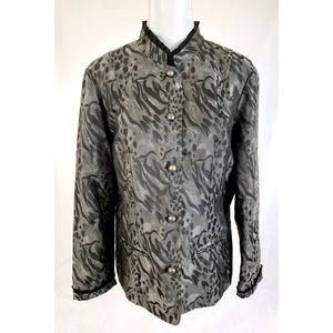COLDWATER CREEK Silver Gray Button Front Blazer